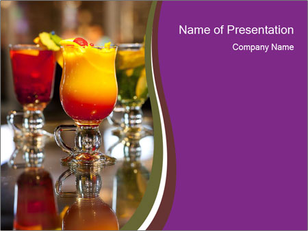 Drink Cocktails in Bar PowerPoint Template