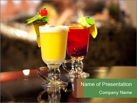 Cocktails Standing at Bar Stand PowerPoint Template