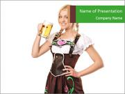 German Waitress at Octoberfest PowerPoint Templates
