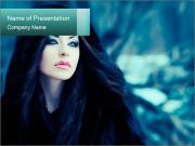 Gloomy Woman in Black Clothing PowerPoint Templates
