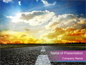 Road and Golden Sky PowerPoint Template - Slide 1