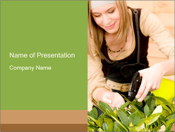 Woman Taking Care About Plants PowerPoint Template - Slide 1
