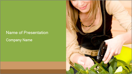 Woman Taking Care About Plants PowerPoint Template
