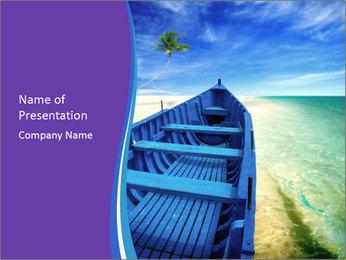 Rural Blue Boat PowerPoint Template - Slide 1