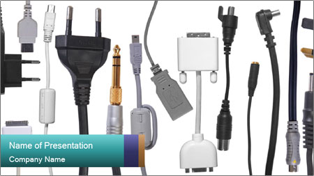 Cables of Digital Devices PowerPoint Template