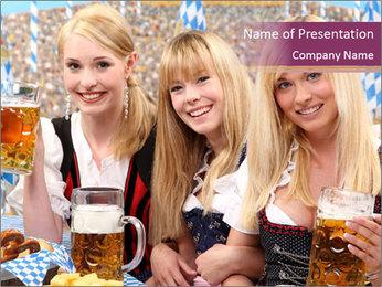 Oktoberfest and Waiters PowerPoint Template - Slide 1