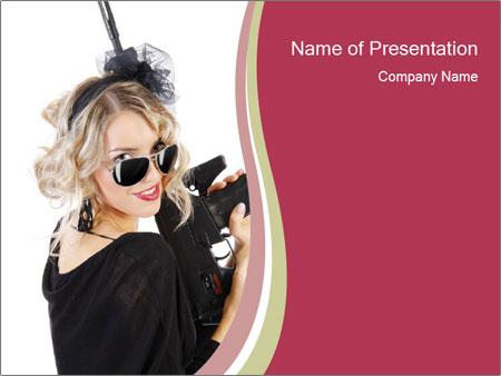 Blond Woman Holding Black Gun PowerPoint Templates