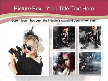 Blond Woman Holding Black Gun PowerPoint Templates - Slide 19