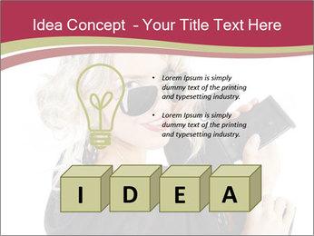 Blond Woman Holding Black Gun PowerPoint Template - Slide 80