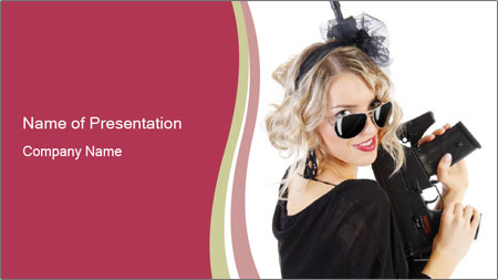 Blond Woman Holding Black Gun PowerPoint Template