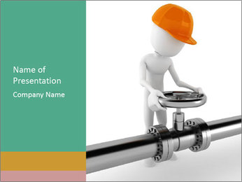 3d Worker Fixing Pipes PowerPoint Template - Slide 1