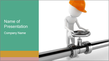 3d Worker Fixing Pipes PowerPoint Template