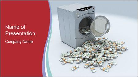 Money and Washing Machine PowerPoint Template