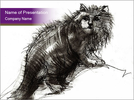 Cat Drawing PowerPoint Template