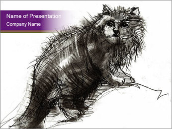 Cat Drawing PowerPoint Template - Slide 1