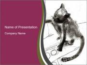 Kitten Drawing PowerPoint Templates