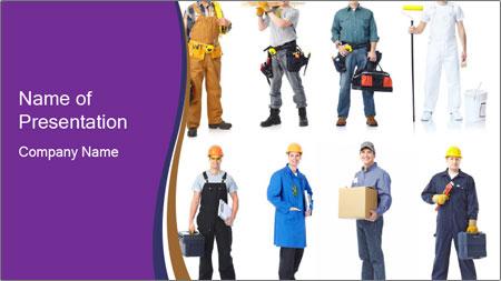 Team of Industrial Contractors PowerPoint Template