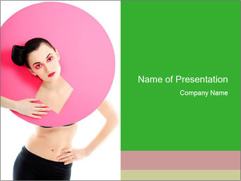 Model with Pink Circle on her Neck PowerPoint Template - Slide 1