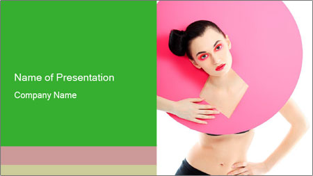 Model with Pink Circle on her Neck PowerPoint Template