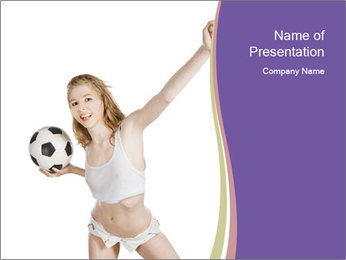 Cute Woman with Soccer Ball PowerPoint Template - Slide 1