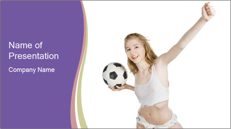 Cute Woman with Soccer Ball PowerPoint Template