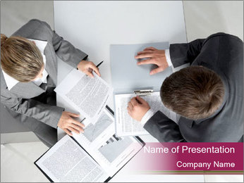 Colleagues and Paperwork PowerPoint Template - Slide 1