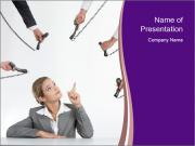 Businesswoman and Many Phone Receivers PowerPoint Templates