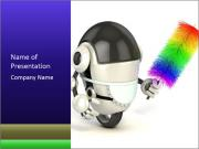 Robot Maid Holding Feather Duster PowerPoint Templates