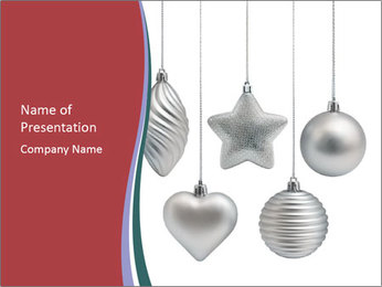 Silver Christmas Toys PowerPoint Templates - Slide 1