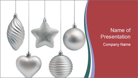 Silver Christmas Toys PowerPoint Template