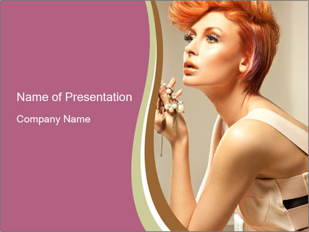 Woman with Red Short Hairstyle PowerPoint Template