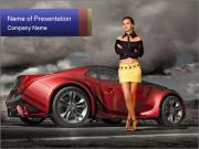 Model Standing Near Sport Car PowerPoint Templates