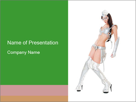 Sexy Dancer in Silver Costume PowerPoint Templates