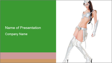 Sexy Dancer in Silver Costume PowerPoint Template