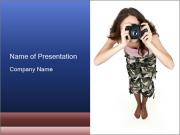 Military Girl Making Photos PowerPoint Templates