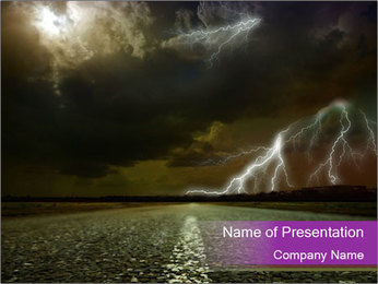 Road and Thunderstorm PowerPoint Template