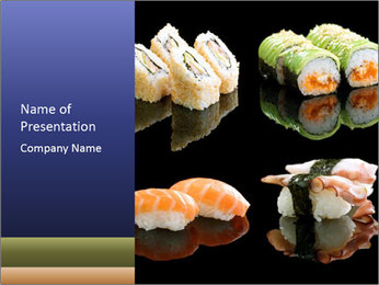 Fresh Sushi Set PowerPoint Templates - Slide 1