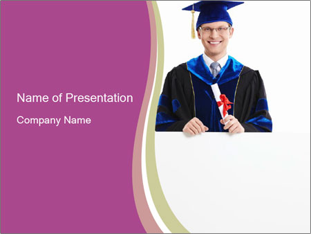 Graduater with Board PowerPoint Template