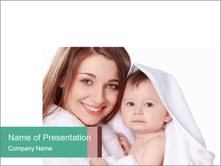 Mother Washes Her Baby PowerPoint Templates