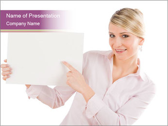 Woman Advertising New Product PowerPoint Template - Slide 1