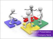 Team Standing on Puzzle PowerPoint Templates