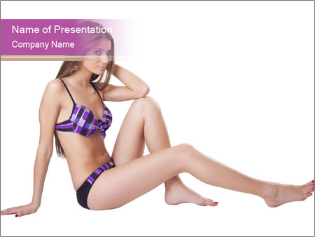 Model Sitting in Bikini PowerPoint Templates
