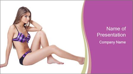 Model Sitting in Bikini PowerPoint Template