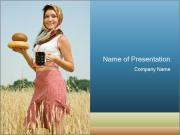 Ukrainian Woman Holding Bread and Kvass Drink PowerPoint Templates