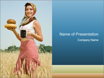 Ukrainian Woman Holding Bread and Kvass Drink PowerPoint Template - Slide 1