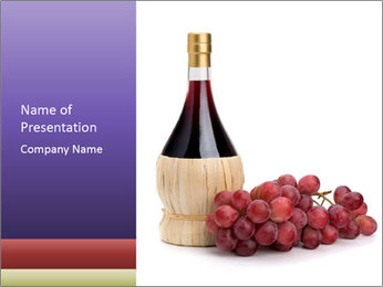 Red Wine and Fresh Grapes PowerPoint Template - Slide 1