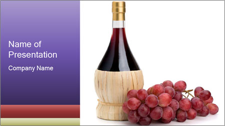 Red Wine and Fresh Grapes PowerPoint Template