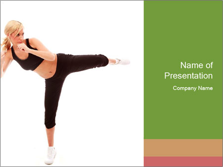 Karate Training for Women PowerPoint Templates