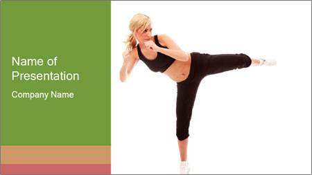 Karate Training for Women PowerPoint Template