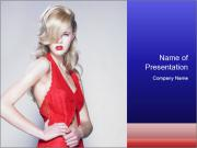 Red Cocktail Dress PowerPoint Templates